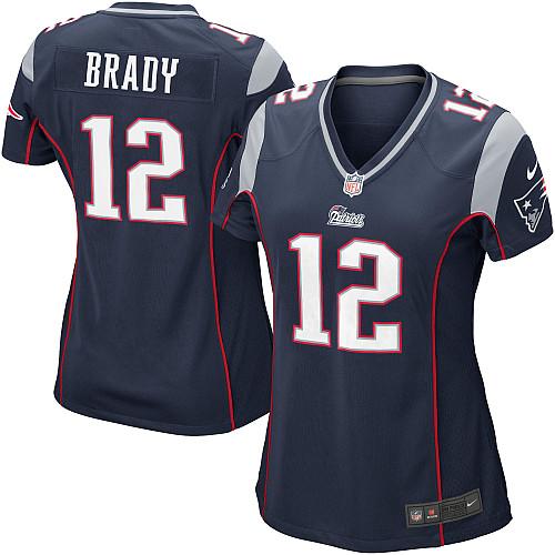 27e0d8964 Camisa Replica Feminina NFL - Patriots  12 - Brady - Navy - Porto Futebol  Americano